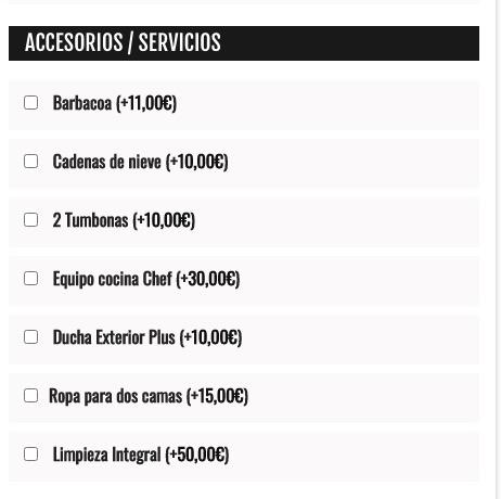 Acessorios extras alquiler - sistema de resevas online para autocaravanas